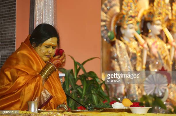 Her Holiness Amma Sri Karunamayi performs special prayers during the Rudra Abhishekam at the Hindu Heritage Centre in Mississauga Ontario Canada on...