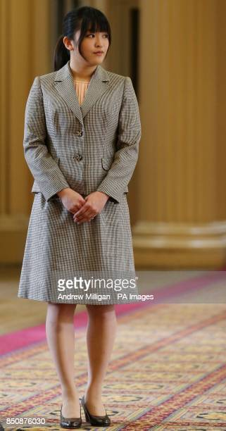 Her Imperial Highness Princess Mako of Akishino the first daughter of His Imperial Highness Prince Akishino in Japan is shown the Playfair Library in...