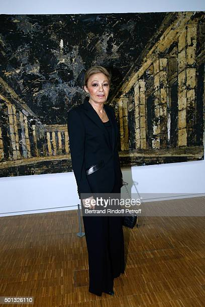 Her Imperial Majesty Empress Farah Pahlavi attends the Anselm Kiefer's Exhibition Press Preview held at Centre Pompidou on December 14 2015 in Paris...