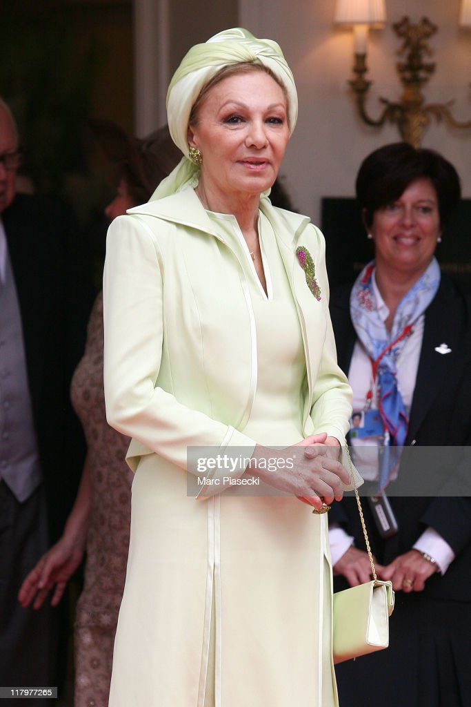Her Imperial Majesty Empress Farah Pahlavi is sighted leaving the 'Hermitage' hotel to attend the Royal Wedding of <a gi-track='captionPersonalityLinkClicked' href=/galleries/search?phrase=Prince+Albert+II+of+Monaco&family=editorial&specificpeople=201707 ng-click='$event.stopPropagation()'>Prince Albert II of Monaco</a> to <a gi-track='captionPersonalityLinkClicked' href=/galleries/search?phrase=Charlene+-+Princess+of+Monaco&family=editorial&specificpeople=726115 ng-click='$event.stopPropagation()'>Charlene</a> Wittstock in the main courtyard at on July 2, 2011 in Monaco, Monaco.