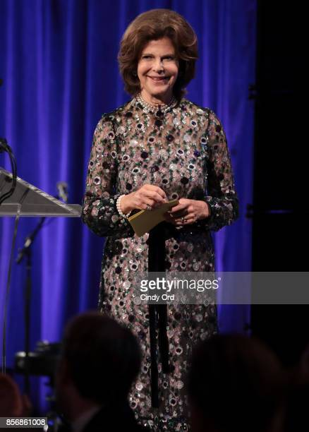 Her Magesty Queen Silvia of Sweden speaks onstage at the World Childhood Foundation USA 2017 Thank You Gala at Cipriani 25 Broadway on October 2 2017...