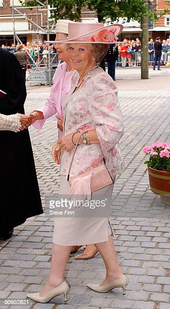 Her Majesty Queen Beatrix arrives for the Christening of baby girl CatharinaAmalia daughter of Dutch Crown Prince Willem Alexander and Princess...