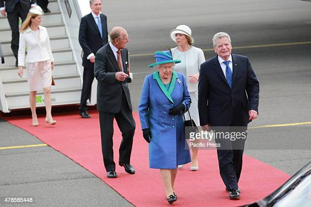 Her Majesty Queen Elizabeth II accompanied by President Joachim Gauck arrival at the military part of the airport BerlinTegel