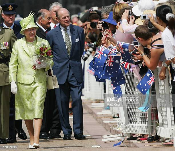 Her Majesty Queen Elizabeth II and His Royal Highness Prince Philip the Duke of Edinburgh greet members of the public at the Sydney Opera House March...