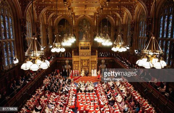 Her Majesty Queen Elizabeth II delivers her annual speech to the House of Commons at the State Opening of Parliament on November 23 2004 in London...