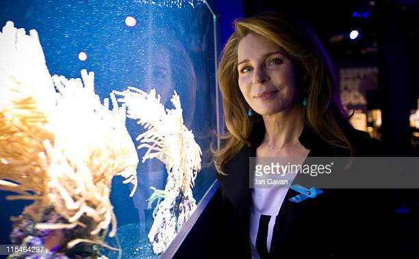 Her Majesty Queen Noor of Jordan views a tank of coral at the Selfridges Ultralounge ahead of the launch of the 19th World Oceans Day at Selfridges...