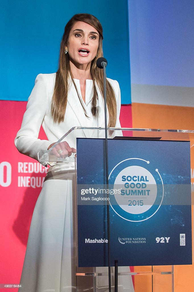 Her Majesty Queen Rania Al Abdullah of Jordan attends the Social Good Summit at the 92nd Street Y on September 27 2015 in New York City