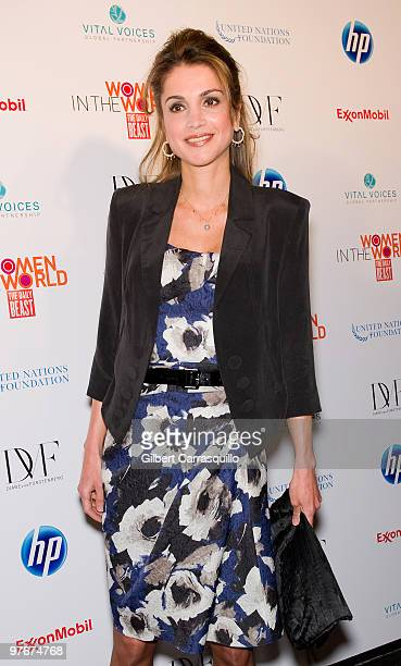 Her Majesty Queen Rania Al Abdullah of Jordan attends 'Women In The World Stories and Solutions' at Hudson Theatre on March 12 2010 in New York City