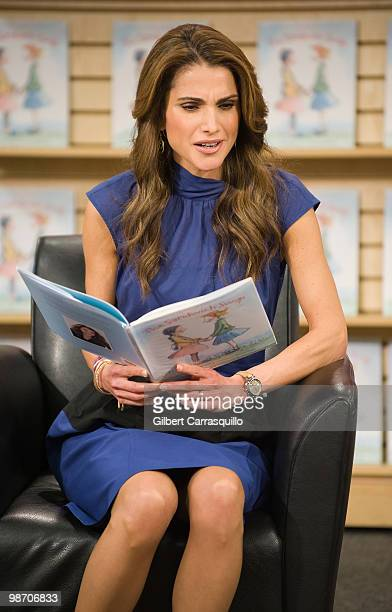 Her Majesty Queen Rania Al Abdullah of Jordan promotes 'The Sandwich Swap' at Borders Books Music Columbus Circle on April 27 2010 in New York City