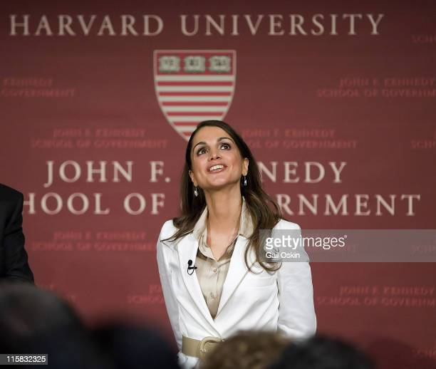 Her Majesty Queen Rania AlAbdullah from the Hashemite Kingdom of Jordan speaks at the John F Kennedy Jr Forum at the Kennedy School of Government at...