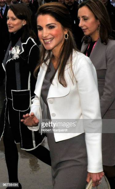 Her Majesty Queen Rania of Jordan attends the Mobile World Congress for her 1GOAL Education for All mobile campaign on February 16 2010 in Barcelona...