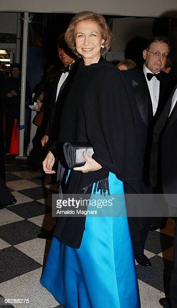 Her Majesty Queen Sofia of Spain arrives at the annual Gold Medal Gala held by Queen Sofa Spanish Institute to honor Julio Iglesias Henrey Kissinger...
