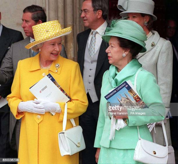Her Majesty the Queen and HRH Princess Margaret in attendance at the marriage between the late Earl Louis Mountbatten's grandson Timothy Knatchbull...