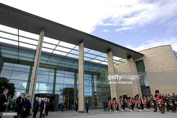 Her Majesty The Queen and HRH The Duke of Edinburgh arrive to officially open the new Headquarters of the Royal Bank of Scotland in Gogarburn on...