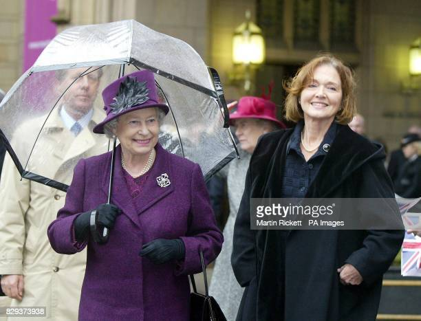 Her Majesty The Queen with Co Chancellor Anna Ford as they meet students from the university after the formal establishment of the University of...