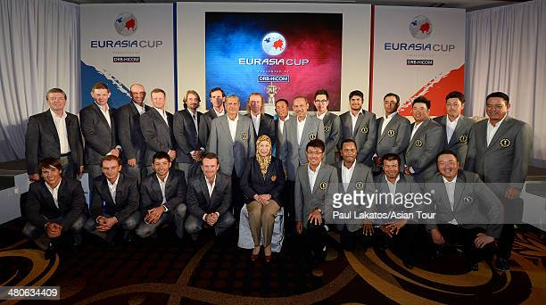 Her Majesty The Raja Agong Tuanku Hajah Haminah The Queen of Malaysia pictured with Team Europe and Team Asia ahead of the EurAsia Cup presented by...