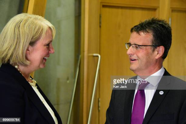 Her Majesty's Inspector of Constabulary in Scotland Derek Penman chats to Gill Imery Assistant Inspector of Constabulary in Scotland before giving...