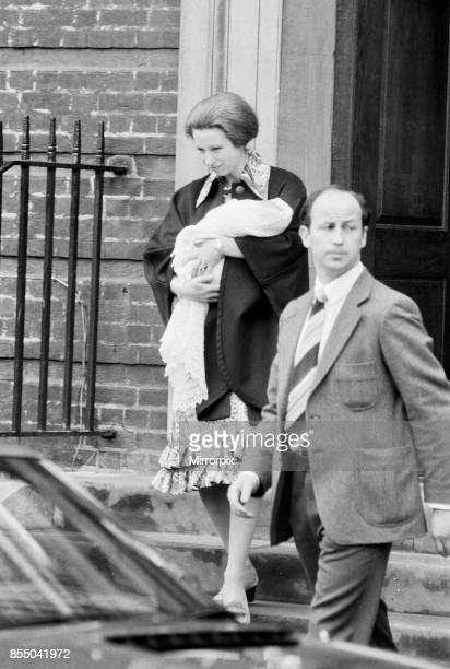 Her Royal Highness Anne leaves St Mary's Hospital in Paddington London after the birth of her baby daughter Princess Zara she is accompanied by her...