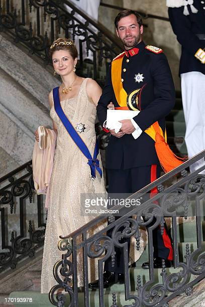 Her Royal Highness Crown Princess Stephanie of Luxembourg and Prince Guillaume of Luxembourg depart from the wedding ceremony of Princess Madeleine...