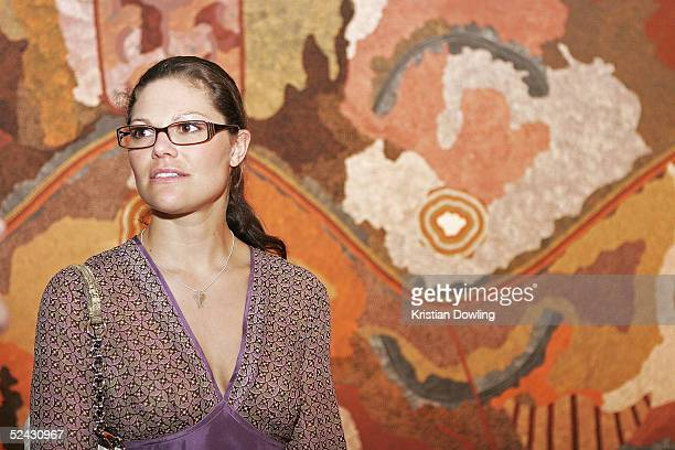 Her Royal Highness Crown Princess Victoria of Sweden tours the Aboriginal art gallery at Federation Square on March 15 2005 in Melbourne Australia