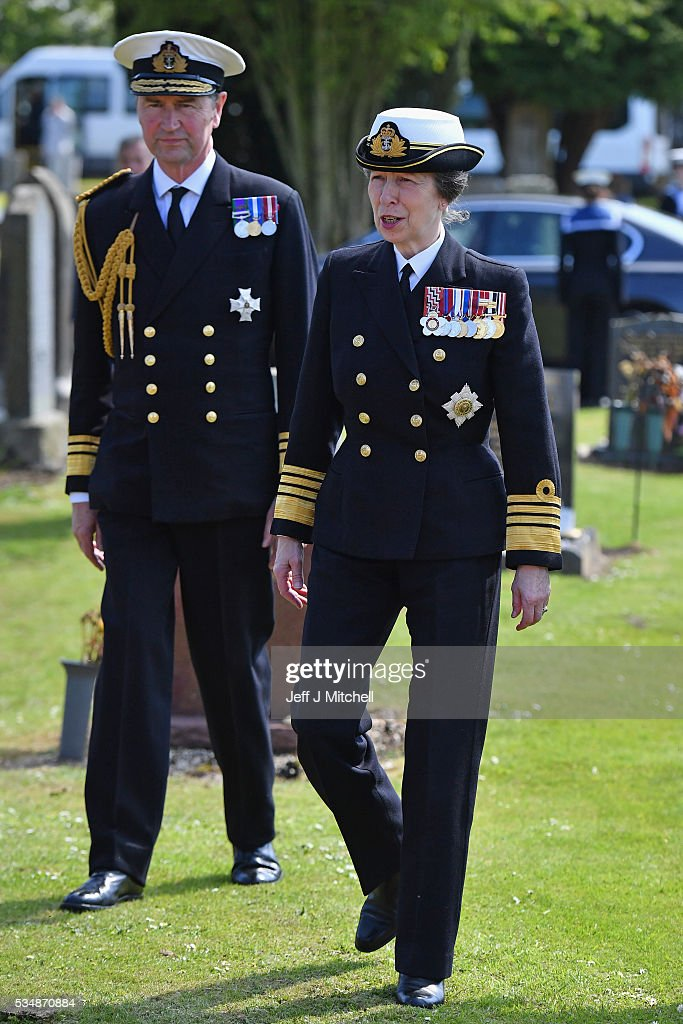 Her Royal Highness Princess Anne and Vice Admiral Sir Tim Laurence attend a service at a war graves cemetery to mark the Battle of Jutland on May 28, 2016 in South Queensferry,Scotland. The events begin a weekend of commemoration leading up to the anniversary on 31 May and 1 June to mark the centenary of the largest naval battle of World War One where more than 6,000 Britons and 2,500 Germans died in the Battle of Jutland.