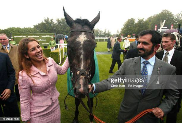 Her Royal Highness Princess Haya of Jordan and Husband Sheik Mohammed with their horse Proclamation after they won the Cantor Spreadfair Sussex Stakes