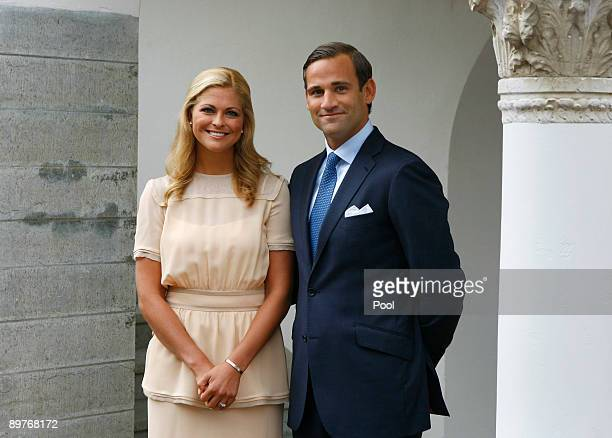 Her Royal Highness Princess Madeleine of Sweden and Jonas Bergstrom announce their engagement outside Solliden Palace on August 11 2009 on the island...