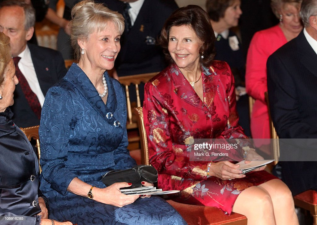 Her Royal Highness the Duchess of Gloucester and Queen Silvia of Sweden attend a concert at Laeken Castle at Laeken Castle on November 16, 2010 in Brussels, Belgium.