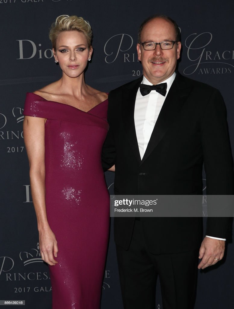 Her Serene Highness Princess Charlene of Monaco (L) and His Serene Highness Prince Albert II of Monaco attend 2017 Princess Grace Awards Gala at The Beverly Hilton Hotel on October 25, 2017 in Beverly Hills, California.