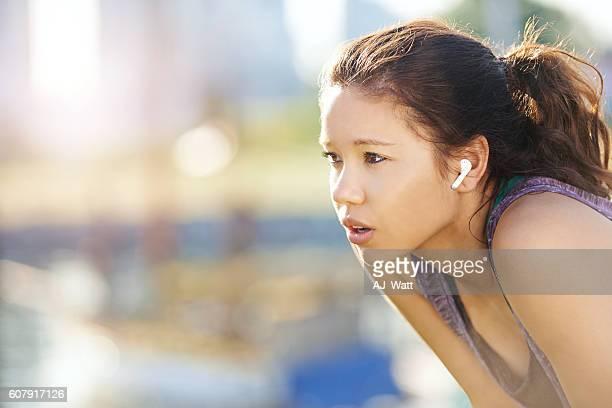 Her wireless earphones meet the demands of her active lifestyle