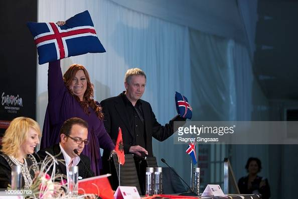 Hera Bjork of Iceland s during a press conference after the first semi final at the Telenor Arena on May 25 2010 in Oslo Norway In all 39 countries...