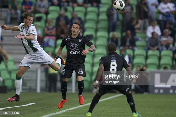 Heracles Almelo Hans Hateboer of FC Groningen Jaroslav Navratil of Heracles Almelo Lerin Duarte of Heracles Almelo during the Dutch Eredivisie match...