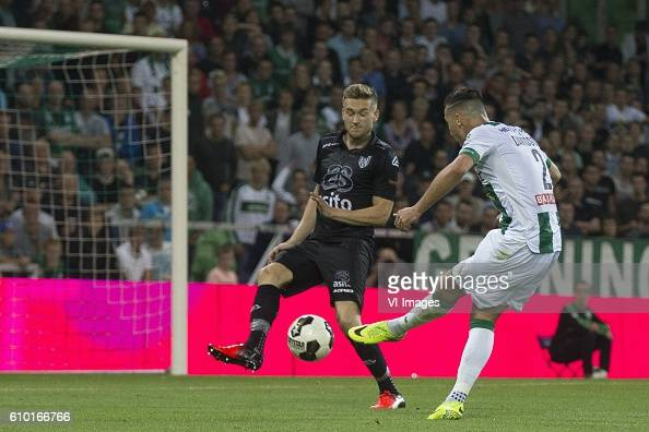 Heracles Almelo Tim Breukers of Heracles Almelo Jason Davidson of FC Groningen during the Dutch Eredivisie match between FC Groningen and Heracles...