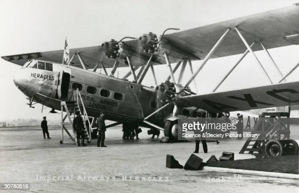 AAXC 'Heracles' boarding passengers possibly from Croydon Airport Greater London The Handley Page HP42 was the most famous Imperial Airways airliner...