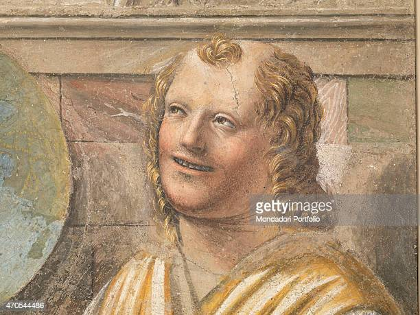 'Heraclitus and Democritus by Bramante c 1487 15th Century fresco Italy Lombardy Milan Brera Picture Gallery Detail Close frame showing the face and...