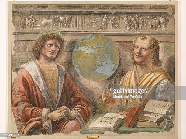 'Heraclitus and Democritus by Bramante c 1487 15th Century fresco Italy Lombardy Milan Brera Picture Gallery Whole artwork view The painting depicts...