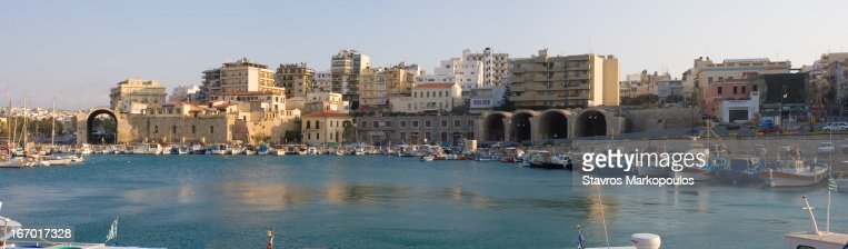 Heraklion old harbor panorama