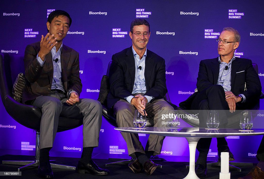 Herald Chen, member and co-head of technology at Kohlberg Kravis Roberts & Co., from left, Greg Mondre, managing partner and managing director at Silver Lake Management LLC, and Kevin Ryan, chairman of the Gilt Groupe Inc., participate in a panel discussion at the Bloomberg Next Big Thing Summit in New York, U.S., on Monday, Sept. 16, 2013. The conference convenes the most influential investors and industry leaders in innovation and science to explore the great frontiers of how technology is changing the way we live, work, and interact. Photographer: Michael Nagle/Bloomberg via Getty Images