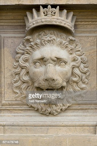 Heraldic Lion With Crown Florence Italy Stock Photo