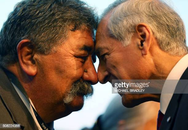 Heraldo Munoz the Minster of Foriegn Affairs from Chile is welcomed by a local Maori elder with a Hongi as Ministerial Representatives from the 12...