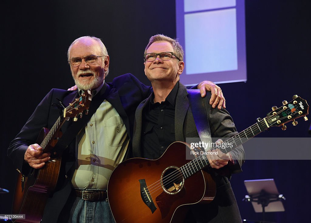 Herb Chapman joins son <a gi-track='captionPersonalityLinkClicked' href=/galleries/search?phrase=Steven+Curtis+Chapman&family=editorial&specificpeople=828220 ng-click='$event.stopPropagation()'>Steven Curtis Chapman</a> during Sam's Place - Music For The Spirit - May 1, 2016 at Ryman Auditorium in Nashville, Tennessee.