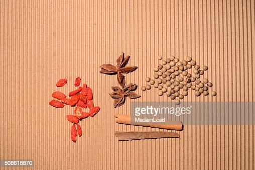 herb for food cinnamon pepper goji berry : Stock Photo