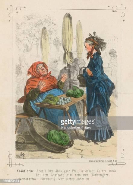 Herb lady and wife of a civil servant 1874 Coloured lithographCaricature from the magazine Hans Jörgel Kräutlerin und Beamtensfrau 1874 Kolorierte...