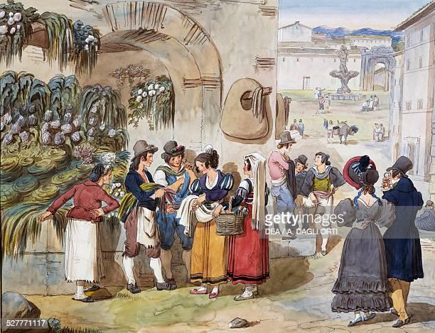 Herb sellers in Piazza Barberini in Rome by Achille Pinelli watercolour drawing Italy 19th century Roma Museo Di Roma Gabinetto Comunale Delle Stampe