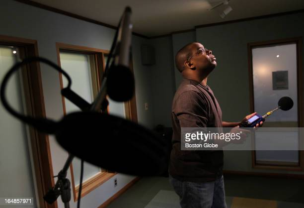 Herb Singleton Jr an acoustical engineer measures sound at a job he is finishing for a client's recording studio in downtown Northampton