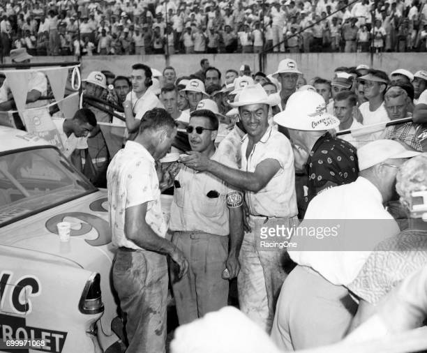 Herb Thomas driver of the Chevrolet that he also owned won the 1955 Southern 500 at Darlington Raceway on September 5 1955 in Darlington South...