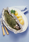 Herb Trout in Aluminum Foil with Potatoes