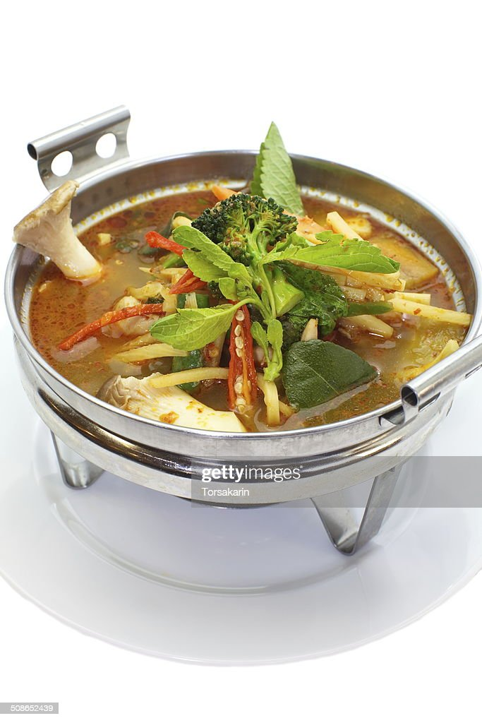Herbal curry with chicken and fresh vegetables : Stock Photo