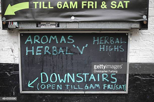 Herbal highs are advertised outside a 'Headshop' on February 26 2015 in Manchester England There has been a significant rise in the use of Legal...