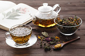 Relaxint evening concept, Herbal tea with rose buds